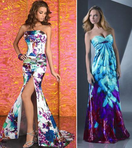 Цветные выпускные платья
