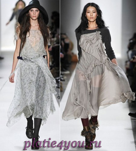 Еще одна особенность модных длинных осенних платьев - летящий, свободный...