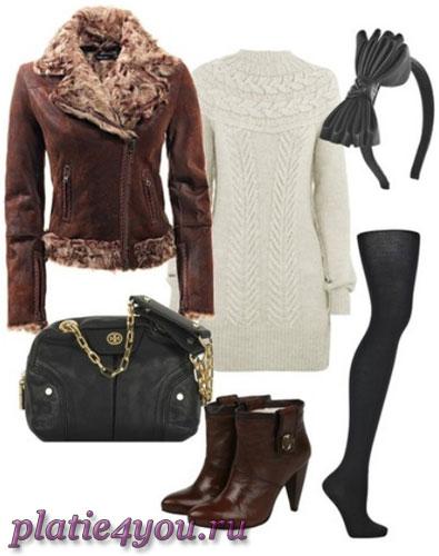 Зимние вязаные платья.  Модные цвета.  Именно теплое вязаное платье...