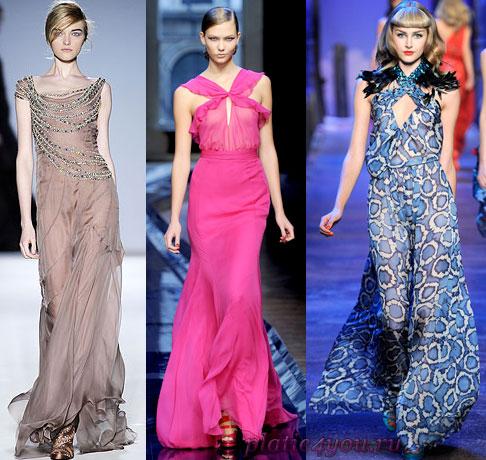 Длинные шифоновые платья