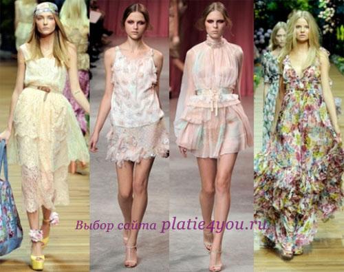 Платья в романтическом стиле.