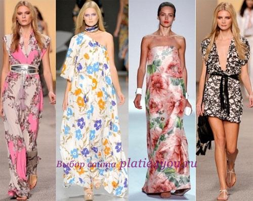Летние платья 2011 года с цветочным принтом: фото