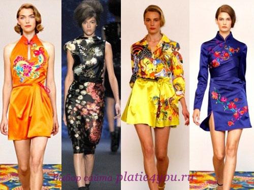 коктейльные платья в китайском стиле