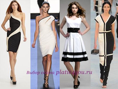 Черно-белые платья - модели
