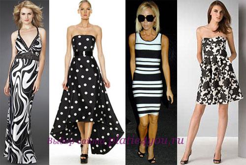 Чёрное платье с белыми цветами