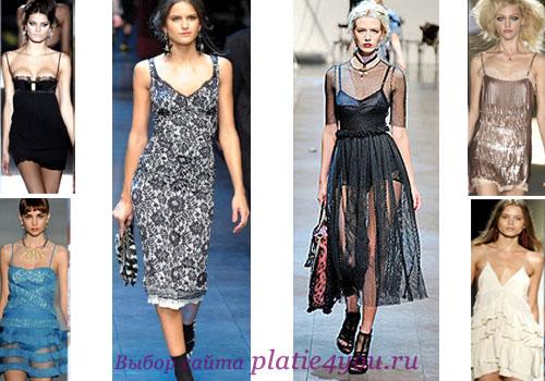 платье-комбинация с кружевными оборками