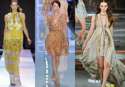 расцветки и принты шифоновых платьев