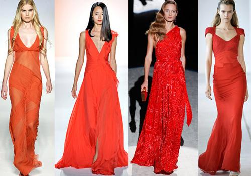 вечерние платья 2012 ярко красных оттенков