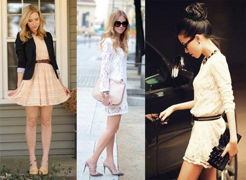 кружевное платье с чем носить фото