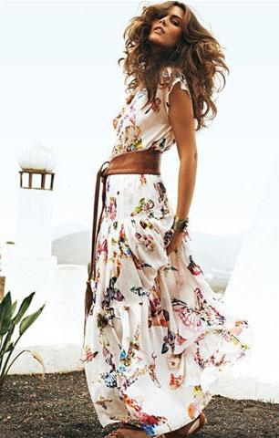Как подобрать пояс к платью. Просторное длинное платье