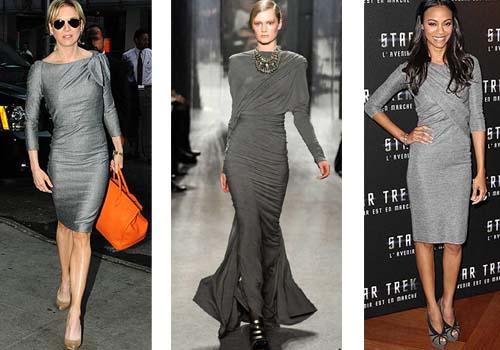 С чем носить серое платье
