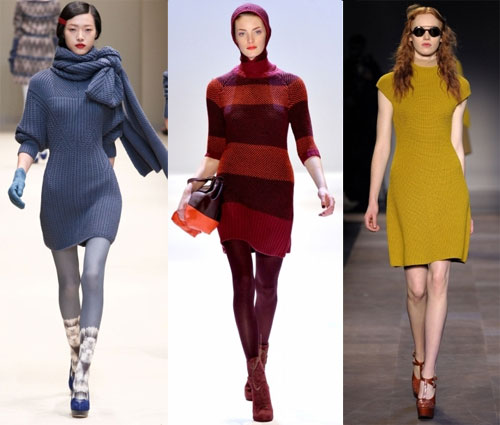 Зимние трикотажные платья 2013, Бренды: Cacharel, Carven, Charlote Ronson