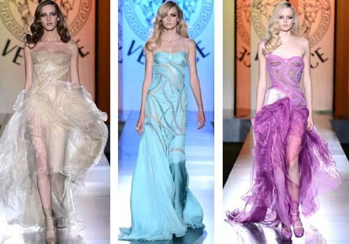 Платья Versace 2013 выполнены из различных тканей