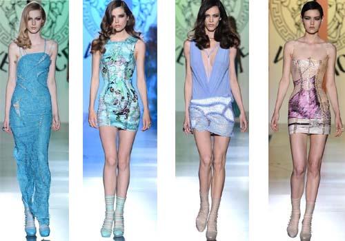 Платья Versace представлены в теплой цветовой гамме