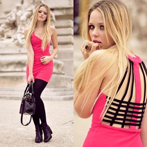 С чем носить розовое платье. Розовый и черный