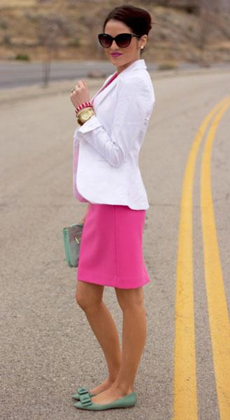 С чем носить розовое платье. Розовый и белый