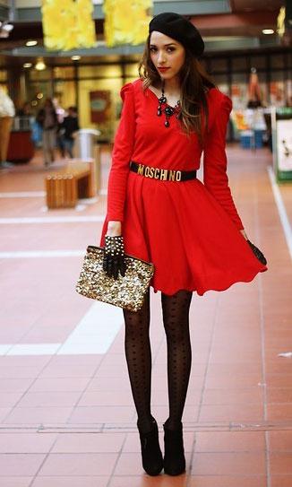 С чем надеть красное платье на корпоратив