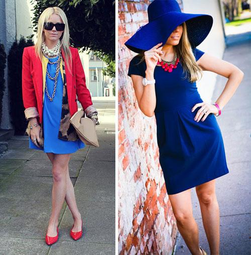 как сочетать синее платье и вишневый