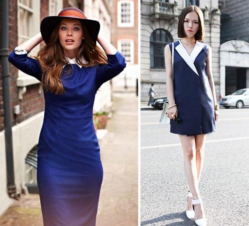 как сочетать синее платье и белый