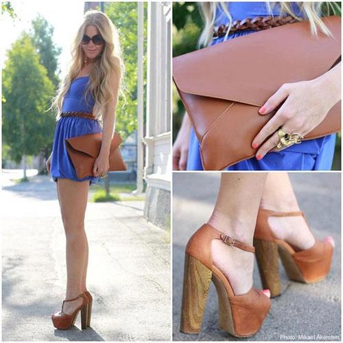 как носить с синим платьем коричневые аксессуары и обувь