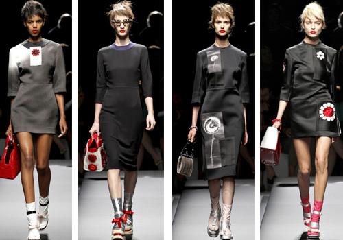 цветовая гамма платьев Prada