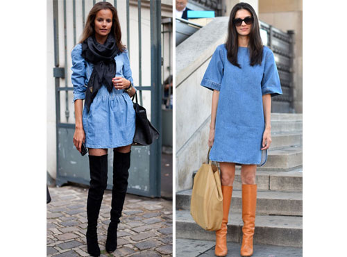 С чем носить платье джинсовое осенью