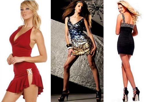 Короткие блестящие клубные платья