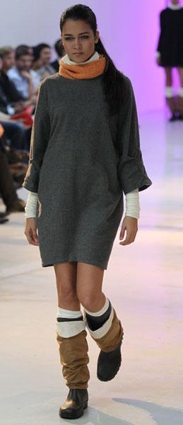 Пушистое шерстяное платье