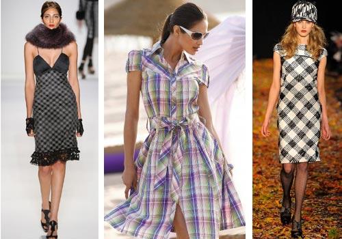 с чем следует сочетать клетчатое платье