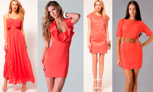 Платье кораллового цвета Для цветотипа Лето
