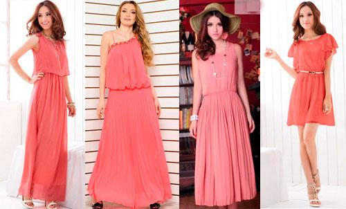 Платье кораллового цвета Для цветотипа Осень