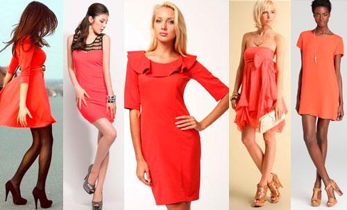 С чем и куда носить коралловое платье