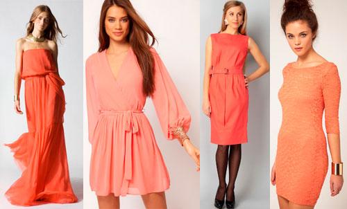 Коралловое платье для цветотипа весна