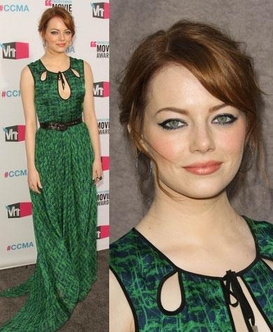 Emma Stone в зеленом платье