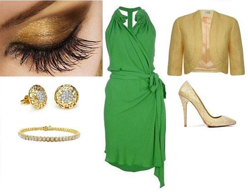 каким должен быть макияж к зеленому платью
