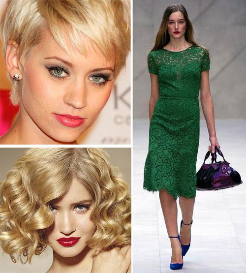 Модное зеленое платье