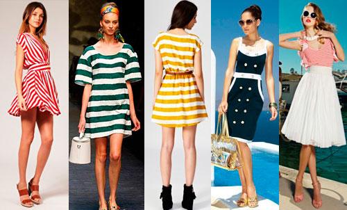 длина и расцветка платьев в морском стиле