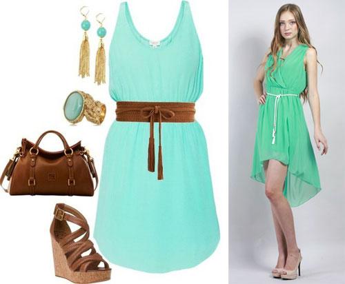 Платье цвета мяты с чем носить
