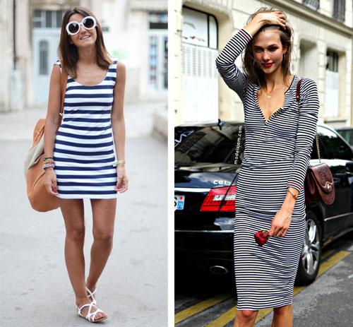 С чем носить полосатое мини-платье