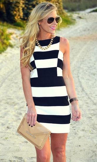 как правильно носить полосатое платье