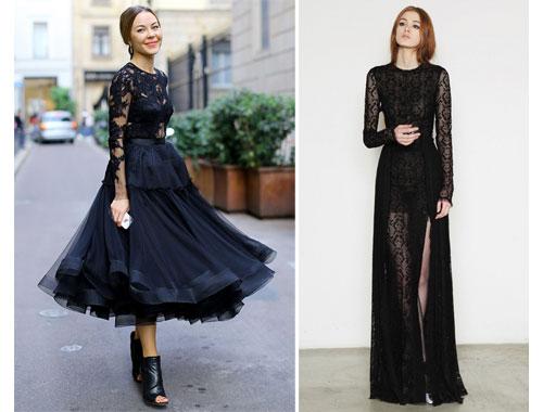 Как носить черное прозрачное платье