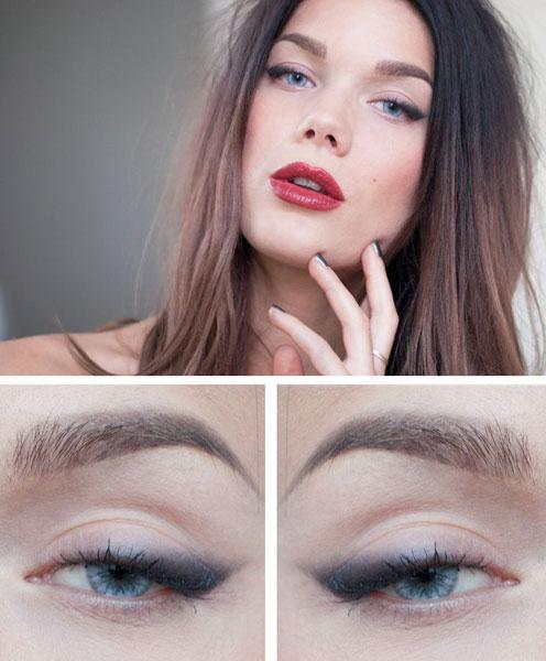 макияж с акцентом на губах под вечернее платье