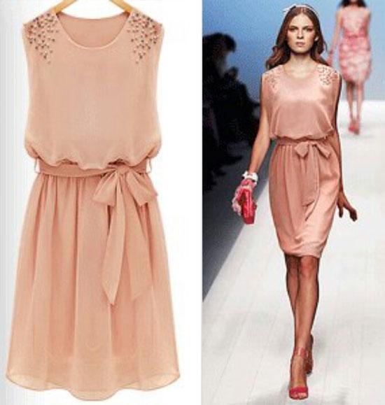 как носить платье персикового цвета и аксессуары цвета фуксии