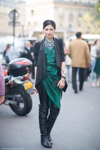 как носить зеленое платье