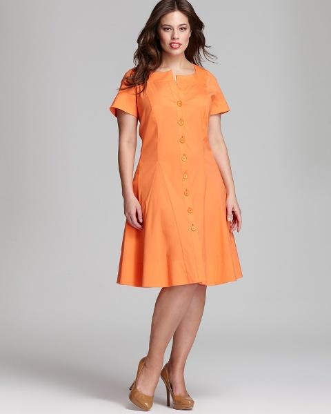 платье А-силуэта для полных