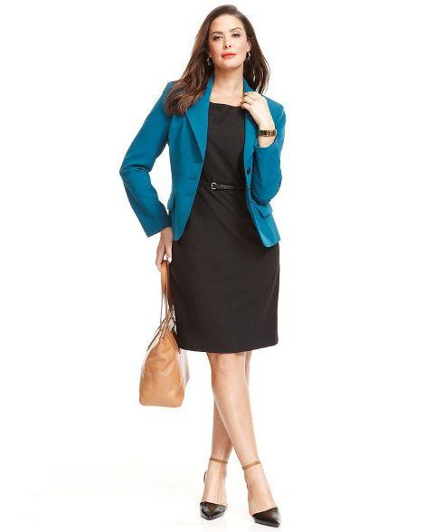 офисное платье-футляр для полной женщины