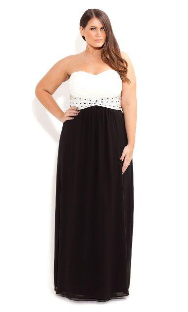 длинное платье-бюстье для полной девушки