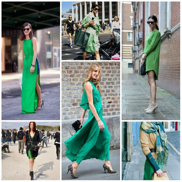 с какими аксессаурами носить зеленое платье