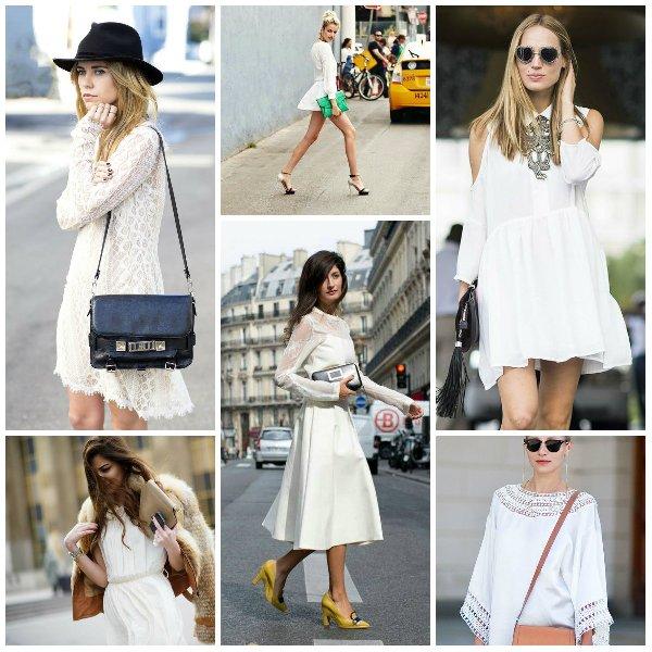 с какими аксессуарами носить белое платье