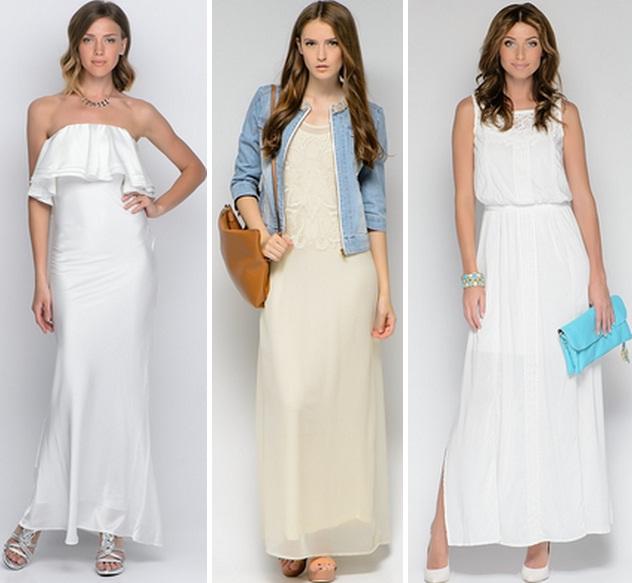 Белое платье в пол из хлопка